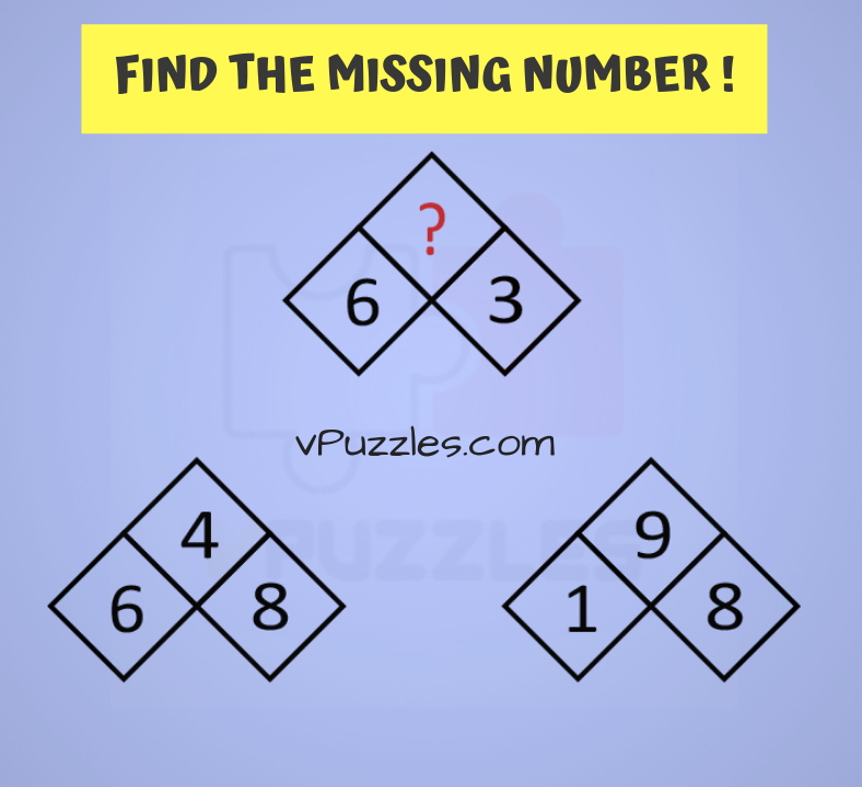 mind teaser find the missing number math picture puzzle | vPuzzles